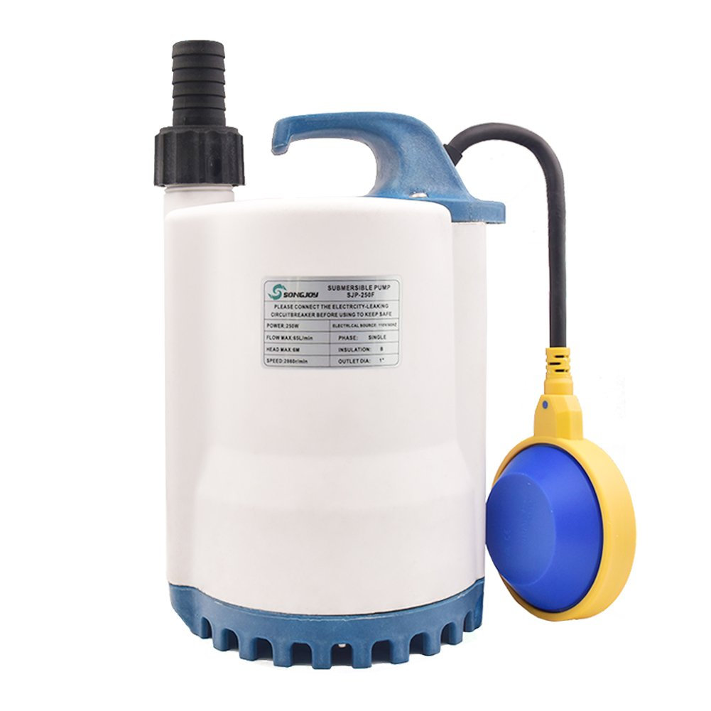 SONGJOY 1/3 HP Submersible Utility Pump 1900GPH Dirty Clean Water Pump with Float Switch For Pool Pond Basement Drainage Garden Irrigation Water Transfer