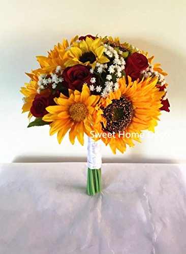 Sweet Home Deco Silk Sunflower Rose Babysbreath Wedding Bouquet Bridal Bouquet Bridesmaid Bouquet Boutonnere in Yellow/Red (Yellow/Red-11''W Bouquet)