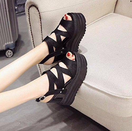 Zapatos Moda Sandalias Transpirable de Salvaje Correa Aumentar Verano ahuecada de Palabra Grueso Boca Elegante AJUNR de black Inferior Pendiente Talón Pescado Dentro RdqttEw