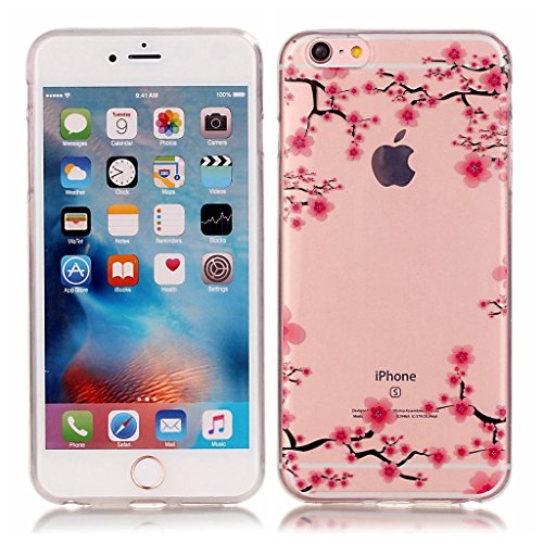 dentelle rose Design souple gel transparent TPU silicone protection arrière Housse coque étui Pour Apple iPhone 6 6S 4.7'' (4,7'')
