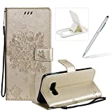 Strap Leather Case for Galaxy S10 Lite,[Gold Solid Color] Stand Flip Case for Galaxy S10 Lite,Herzzer Premium Elegant [Embossed Butterfly Tree Cat Painted] Fold Wallet Folio Smart Case