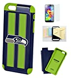 FOREVER [Iphone 6/6s] Licensed NFL - Seattle Seahawks - Dual Hybrid Cell Phone Case Momiji [Screen Guard] Protector, Cleaning Cloth for Apple iPhone 6/6s