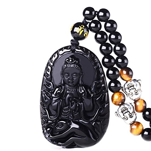 White Obsidian - Pure Natural Obsidian Natural Pendant Necklace Zodiac Bodhisattva Amulet Talisman White Copper Buddha Necklace Pendant