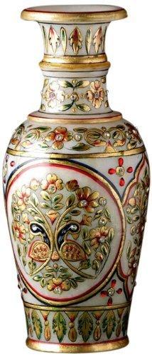 The Hue Cottage Flower Vase Rajasthani Meenakari Kundan Work Decorative Showpiece Golden Handcrafted Pot Indian Gift Items Decor