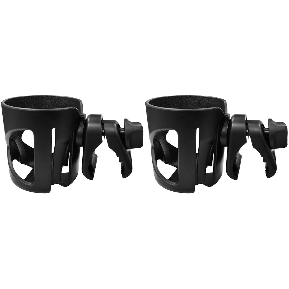 Dreamsoule Universal Stroller Clip Cup Holder Baby Bottle Rack Fits Most Strollers/Wheelchairs/Rollators/Walkers/Bicycles/Carriage Accessory, 2 Packs (Black)