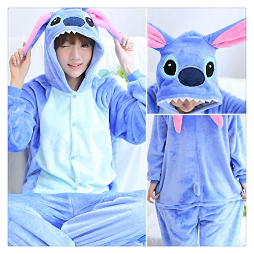 Halloween Autumn and Winter Pajama Sets Cartoon Sleepwear Women Pajamas Christmas Flannel Animal Stitch Panda Unicorn Pajama Blue Stitch S]()