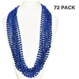 (72 Pack) 33'' Inch Round Metallic Mardi Gras Party Necklace Beads (Blue)