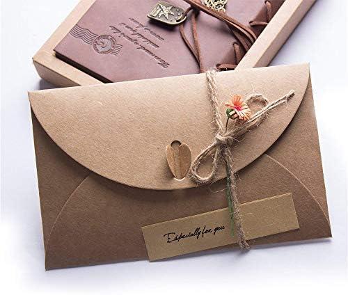 Kraftpapier Umschläge,Briefumschläge,Kraftpapierumschläge,Geschenkkartenumschläge mit Herzverschluss,handgefertigte süße Umschläge für Grußkarten,Einladung,Geburtstagskarten (50 Stück)