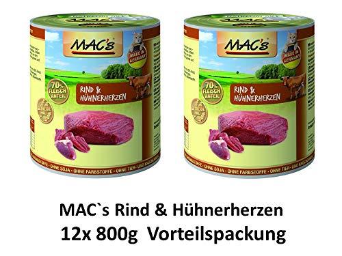 MACs Cat Rind & Hühnerherzen | 12x 800g Katzenfutter