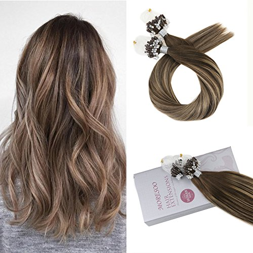 Moresoo 14 Inch Remy Human Hair Extensions Colorful Chocolate Brown #4 and Caramel Blonde #27 Micro Beads Tipped Human Hair Extensions Micro Loop Hair Extensions 50g/pack 50 (Advantage Caramel Double Chocolate)