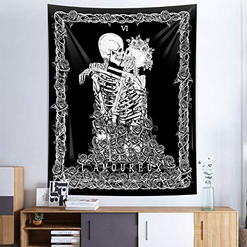 Skeleton Wall Tapestry,Black Skull Kissing Lovers Tapestry Wall Hanging,Romantic Tarot Tapestry for Bedroom, Living Room Dorm Decoration (51.2