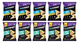 Popcorners Popped Corn Chips 2 Flavor 10 Individual Bag Variety Bundle - 5 Each: White Cheddar and Salt of the Earth, 1 Ounce ea