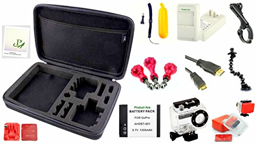 Product Ace (TM) All You Need For Your Sports Action Phones & GoPro Camera, Specialty Accessory Kits (11-in-1 Plus Advanced Dude Set Color Atlantic Ocean, A Totally Rad Experience For The Narley Dude! Compatible With The GoPro Hero 3 & The GoPro Hero 2)
