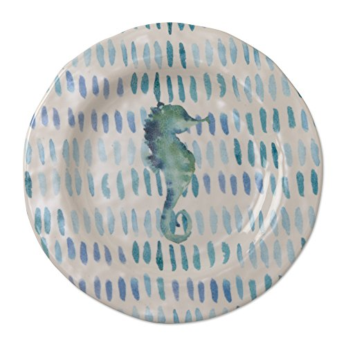 (tag - Seahorse Melamine Salad Plate, Durable, BPA-Free and Great for Outdoor or Casual Meals, Ocean Blue (Set Of 4))