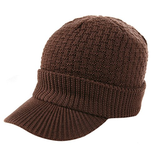 SIGGI Mens Wool Cable Knit Visor Billed Beanie Jeep Cap Winter Newsboy Hat Women Lady Coffee