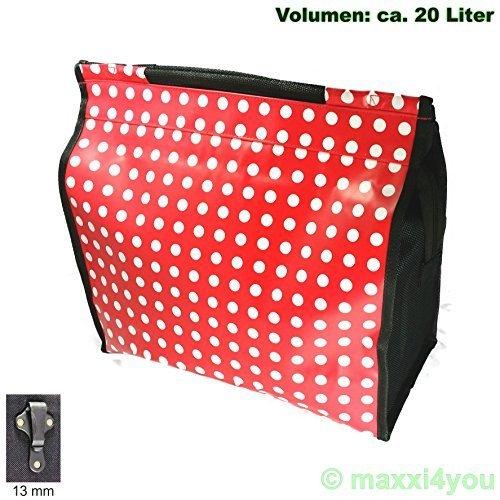 01170425SR-13 Fahrrad Gepäckträgertasche Seitentasche Tasche rot Punkte 13 mm