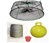 KUFA Sports Tower Style Prawn trap with 400' rope, Yellow float and Vented Bait Jar combo (CT77+PAQ5)