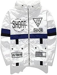 Men's Fashion Lightweight Hoodie Zip-up Letter Windbreaker Jacket
