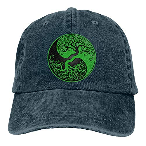 (Green and Black Tree of Life Yin Yang Adult Dad Hat Baseball Hat Vintage Washed Distressed Cap)