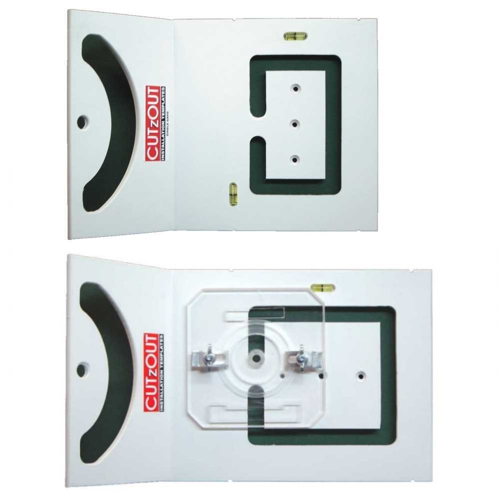 CUTzOUT Single and Double Gang New & Old Work Electrical Box and Low Voltage Box & Bracket Drywall Hole Cutter Templates with Attachment for Spiral Saws, Cut Out, and Rotary Tools by CUTzOUT Installation Templates (Image #9)