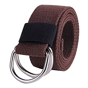 """JINIU Canvas Belt Military Style D RING Buckle solid color 1.5"""" wide CAB2 COFFEE 55""""Long"""