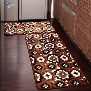 Amazon Com Ustide 2 Piece Brown Flower Kitchen Rug Set