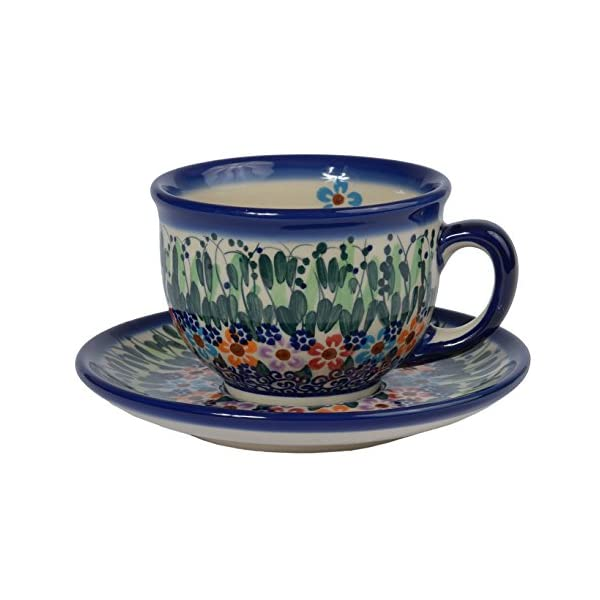 Traditional Polish Pottery, Handcrafted Ceramic Teacup and Saucer 210ml, Boleslawiec Style Pattern, F.101.Daisy