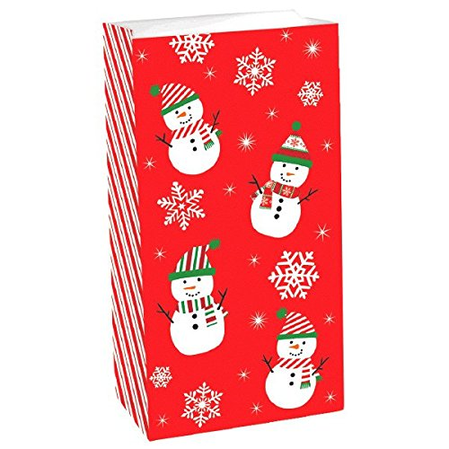 Snowman Christmas Party Favour Treat Sacks Value Pack (12 Pieces), Red, 10