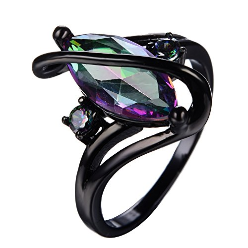Rainbow Horse eye zircon Wedding Jewelry Ring Fashion Black Gold Filled Rings For Women gift Curved rings (11)