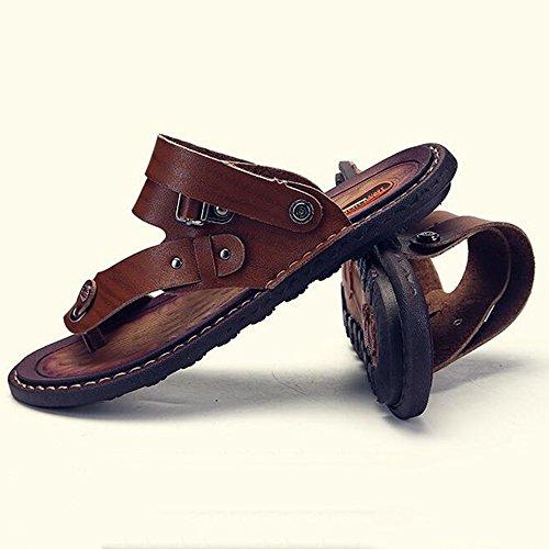 XIAOLIN Sandalias de verano Zapatillas de cuero para hombres Sandalias de deporte antideslizantes para hombres de verano Zapatillas informales para hombres (Tamaño opcional) ( Color : 02 , Tamaño : EU 01