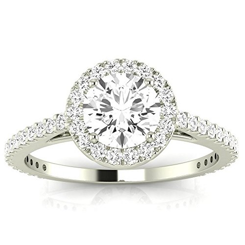 1 Carat t.w. 14K White Gold Round Classic Halo Style Pave Set Round Shape Diamond Engagement Ring H-I I2 Clarity Center Stones. (Style Pave Set Diamond)