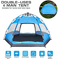 BATTOP 4 Person Tent [Double-Uses] Instant Pop Up Family...