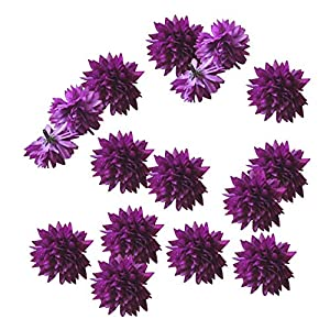 "yepmax Purple Mums Silk Fake Flowers Heads 1.5"" wedding Decorations 100 PCS 10"