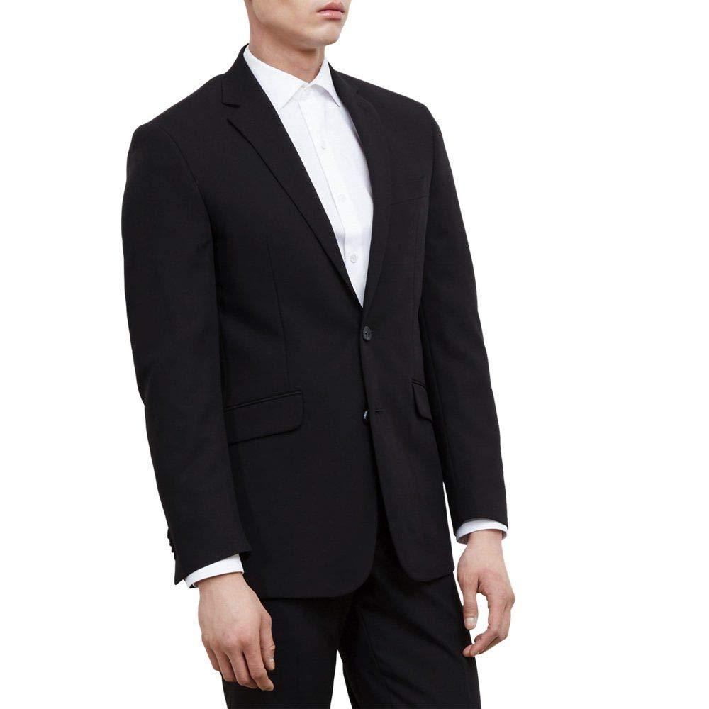 Kenneth Cole REACTION Men's Black Solid Suit Separate Jacket, Black, 38 S