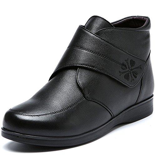 GTVERNH-En la vieja de algodón cálido en invierno con Botas Zapatos Botas Zapatos planos cómodos Cachemira madreCuarentaBlack Cuarenta|Black