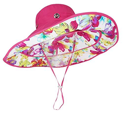 (Bienvenu Ladies Wide Large Brim Sun Visor Floppy Fold Swimming Beach Sunhat Fuchsia)