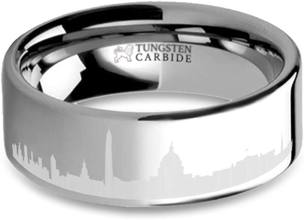 8 mm Washington DC City Skyline Cityscape Engraved Tungsten Ring