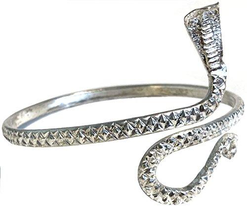 India Arts Unique Upper Arm Metal Bracelet Snake Armband Armlet Anklet Bangle Silver Tone