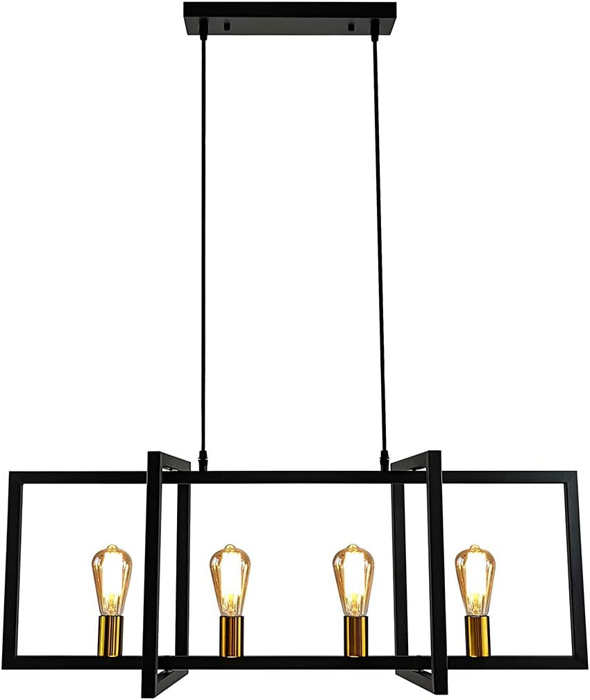 LMSOD 4-Light Kitchen Island Pendant Light Modern Chandelier Industrial Ceiling Lighting Fixture Matte Black with Antique Brass Finish