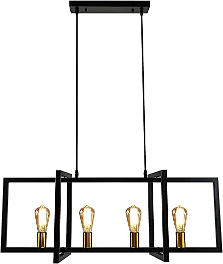 LMSOD 4-Light Kitchen Island Pendant Light Modern Chandelier Industrial Ceiling Lighting Fixture Matte Black