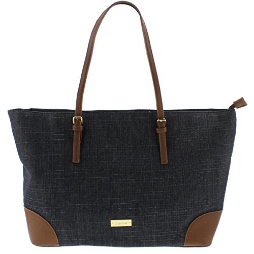 Shopper Trim (Bebe Womens Debbie Faux Leather Trim Shopper Tote Handbag Denim Large)