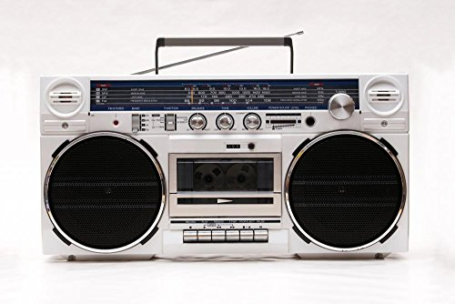 Wallmonkeys FOT-28003604-18 WM34680 1980s Style Stereo Cassette Recorder Ghettoblaster Peel and Stick Wall Decals (18 in W x 12 in H), Small