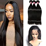 Mscove Hair 360 Lace Frontal with Bundles Straight Brazilian Virgin Human Hair Weaves 3 Bundles with 360 Lace Frontal Closure (18 20 22inch & 16inch)