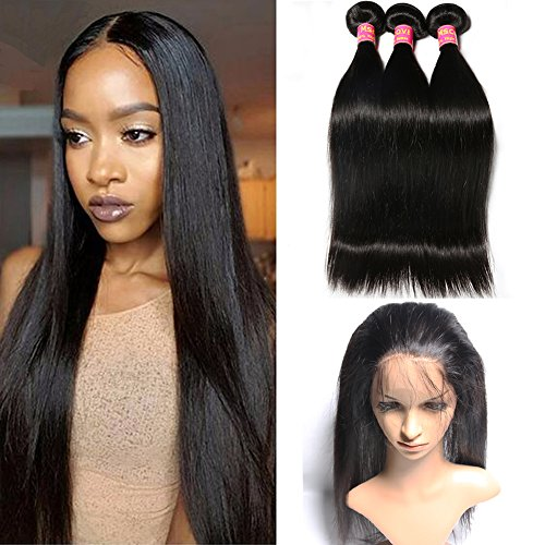 Mscove Hair 360 Lace Frontal with Bundles Straight Brazilian Virgin Human Hair Weaves 3 Bundles with 360 Lace Frontal Closure (18 20 22inch & 16inch) by MSCOVE