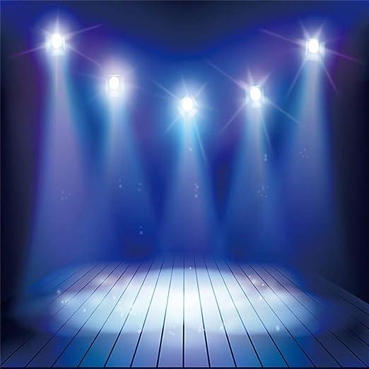 Red Stage Backdrop 8x6.5ft Vinyl Shiny Spotlights Bright Arena Performance Live Show Singing Dancing Platform Photography Background Singer Dancer Portrait Shoot