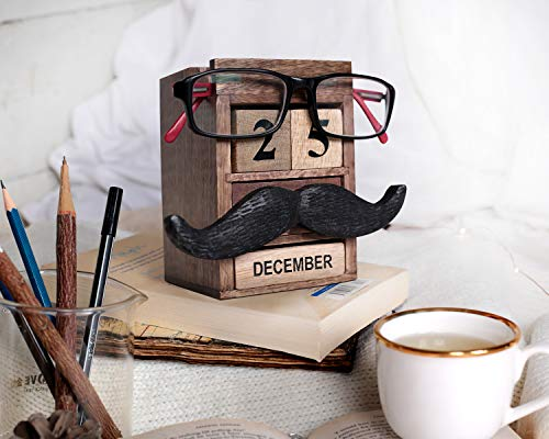 storeindya Valentine Gifts Pen Pencil Stand Holder - Spectacle Eyeglass Holder Stand Multi Organizer Calendar Wooden Display Stand Mustache Handcrafted Design -