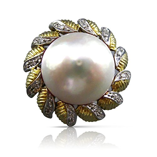 Milano Jewelers MASSIVE .35CT DIAMOND 18K TWO TONE GOLD AAA MABE PEARL FLOWER RING - Mabe Gold Pearl Ring