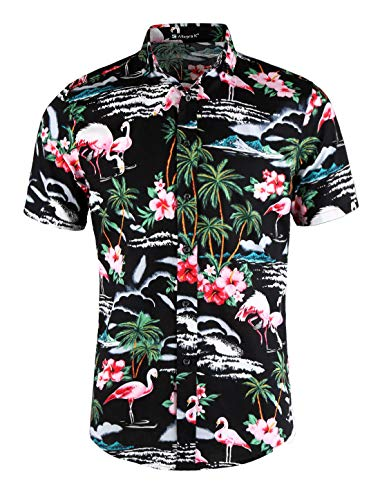 - uxcell Men Slim Fit Floral Print Short Sleeve Button Down Beach Hawaiian Casual Aloha Shirt Black-Flamingos,Floral Print S (US 34)