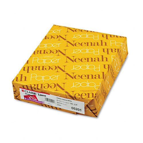 Neenah Paper : Classic Linen Premium Paper, Natural White, 24lb, Letter, 500 Sheets -:- Sold as 2 Packs of - 500 - / - Total of 1000 Each
