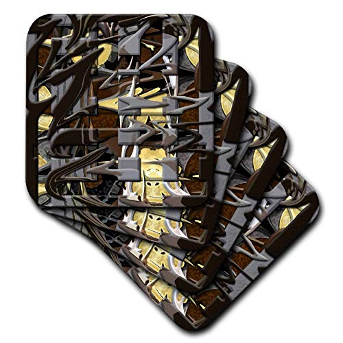 - 3dRose Jos Fauxtographee Mod Abstract - Brown and Yellow Layers of Squares and Wispy Movement Beveled and Painted - set of 8 Coasters - Soft (cst_47554_2)